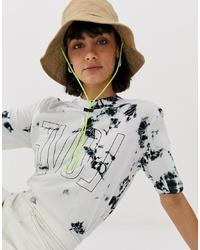 T-shirt girocollo effetto tie-dye bianca