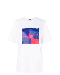 T-shirt girocollo effetto tie-dye bianca di MSGM