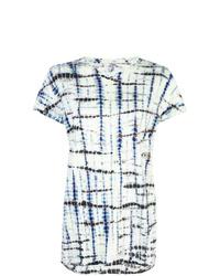 T-shirt girocollo effetto tie-dye blu scuro e bianca di Proenza Schouler