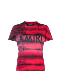 T-shirt girocollo effetto tie-dye bordeaux di Amiri