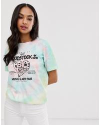 T-shirt girocollo effetto tie-dye multicolore