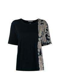 T-shirt girocollo effetto tie-dye nera di Suzusan
