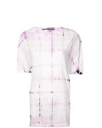 T-shirt girocollo effetto tie-dye rosa di Proenza Schouler
