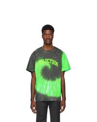 T-shirt girocollo effetto tie-dye verde