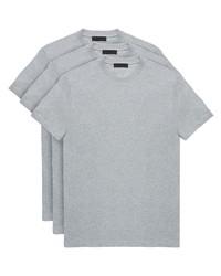 T-shirt girocollo grigia di Prada
