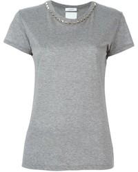 T-shirt girocollo grigia di Valentino