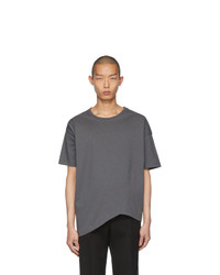 T-shirt girocollo grigio scuro di Bottega Veneta