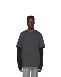 T-shirt girocollo grigio scuro di Juun.J