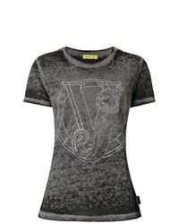 T-shirt girocollo grigio scuro di Versace Jeans