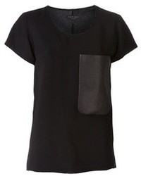 T-shirt girocollo in pelle nera di Rag and Bone