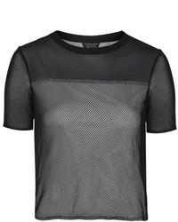 T-shirt girocollo in rete nera