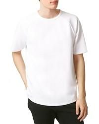 T-shirt girocollo lavorata a maglia bianca