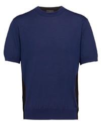 T-shirt girocollo lavorata a maglia blu scuro di Prada
