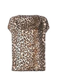 T-shirt girocollo leopardata marrone chiaro di Alberto Biani