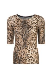 T-shirt girocollo leopardata marrone chiaro di Marc Cain