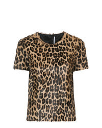 T-shirt girocollo leopardata marrone