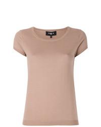 T-shirt girocollo marrone chiaro di Paule Ka