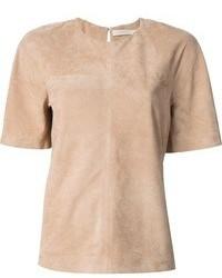 T-shirt girocollo marrone chiaro di Victoria Beckham