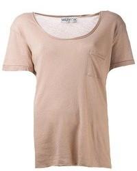 T-shirt girocollo marrone chiaro di Wildfox Couture