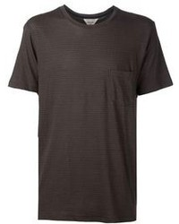 T-shirt girocollo marrone scuro