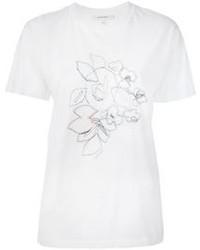 T-shirt girocollo ricamata bianca