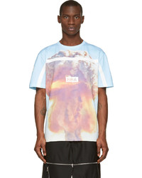 T-shirt girocollo stampata azzurra