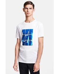 T-shirt girocollo stampata bianca e blu