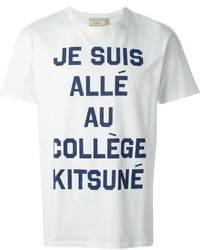 T-shirt girocollo stampata bianca e blu scuro
