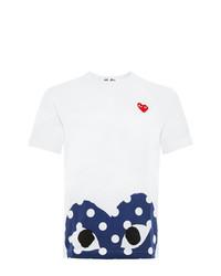 T-shirt girocollo stampata bianca e blu scuro di Comme Des Garcons Play