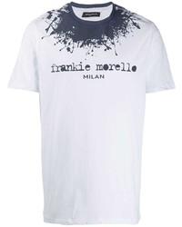 T-shirt girocollo stampata bianca e blu scuro di Frankie Morello
