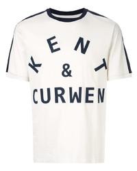T-shirt girocollo stampata bianca e blu scuro di Kent & Curwen