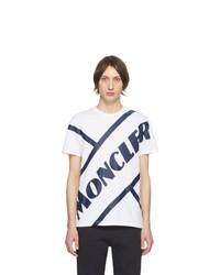 T-shirt girocollo stampata bianca e blu scuro di Moncler