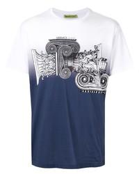 T-shirt girocollo stampata bianca e blu scuro di VERSACE JEANS COUTURE