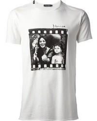 T-shirt girocollo stampata bianca e nera