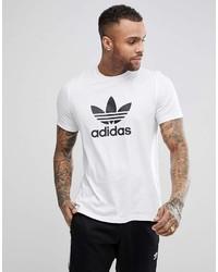 T-shirt girocollo stampata bianca e nera di adidas