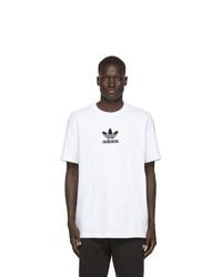 T-shirt girocollo stampata bianca e nera di adidas Originals