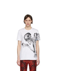 T-shirt girocollo stampata bianca e nera di Alexander McQueen