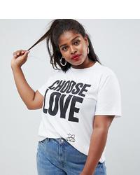 T-shirt girocollo stampata bianca e nera di Asos Curve