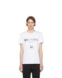 T-shirt girocollo stampata bianca e nera di Balmain