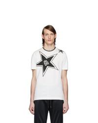 T-shirt girocollo stampata bianca e nera di Dolce and Gabbana