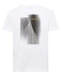 T-shirt girocollo stampata bianca e nera di Prada