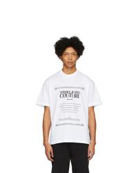 T-shirt girocollo stampata bianca e nera di VERSACE JEANS COUTURE