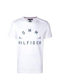 T-shirt girocollo stampata bianca di Tommy Hilfiger