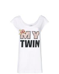 T-shirt girocollo stampata bianca di Twin-Set