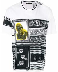 T-shirt girocollo stampata bianca di Versace