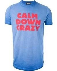T-shirt girocollo stampata blu