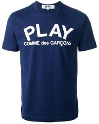 T-shirt girocollo stampata blu scuro e bianca