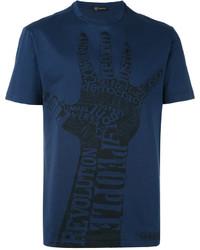 T-shirt girocollo stampata blu scuro