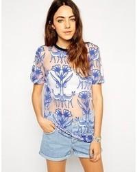 T-shirt girocollo stampata blu di Asos