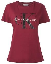T-shirt girocollo stampata bordeaux di Calvin Klein Jeans